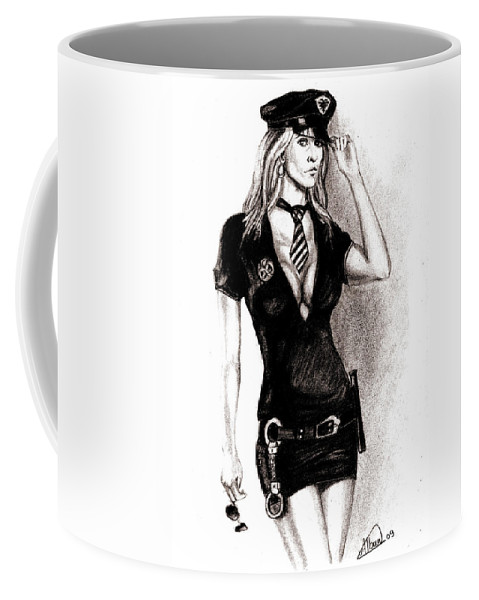 Police Coffee Mug featuring the drawing hot Police unifome by Alban Dizdari