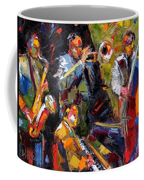 Jazz Coffee Mug featuring the painting Hot Quartet by Debra Hurd