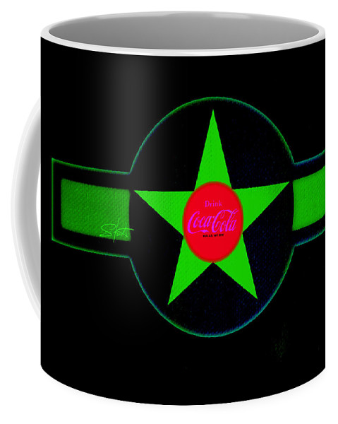 Label Coffee Mug featuring the painting Hot Red On Cool Green by Charles Stuart