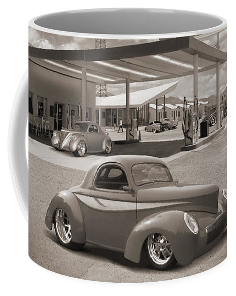Street Rods Coffee Mug featuring the photograph Hot Rods At Roy's Gas Station Sepia by Mike McGlothlen