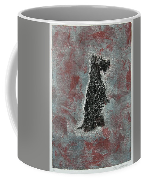 Scottish Terrier Coffee Mug featuring the mixed media Hot Scottie by Cori Solomon