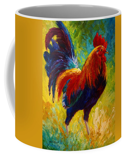 Rooster Coffee Mug featuring the painting Hot Shot - Rooster by Marion Rose