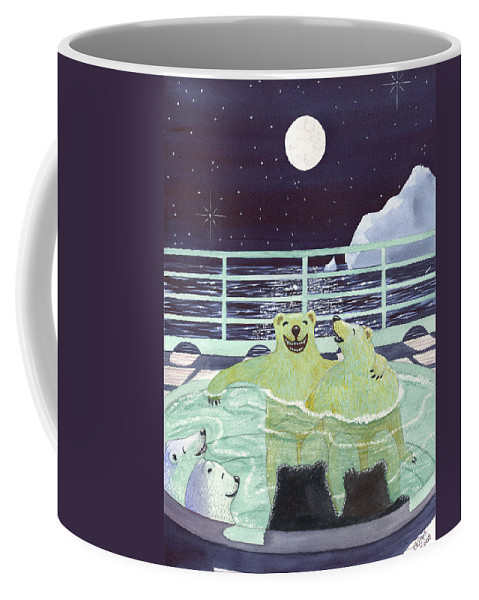 Bears Coffee Mug featuring the painting Hot Tubbin by Catherine G McElroy