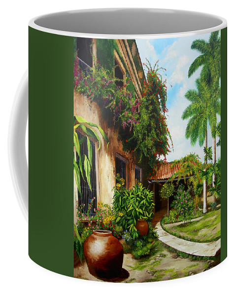 Cuban Coffee Mug featuring the painting Hotel Camaguey by Dominica Alcantara