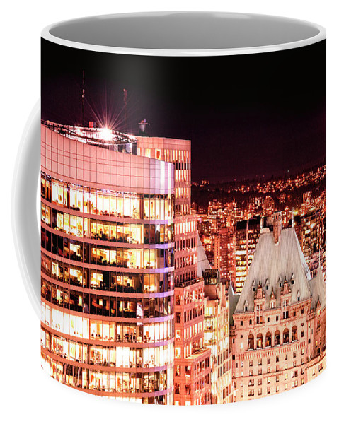 Amyn Nasser Coffee Mug featuring the photograph Hotel Vancouver And Sheraton Wall Center by Amyn Nasser