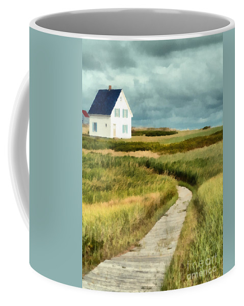 Prince Edward Island Coffee Mug featuring the painting House At The End Of The Boardwalk by Edward Fielding
