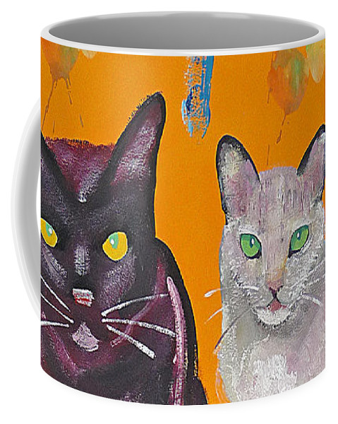 Cat Coffee Mug featuring the painting House Cats by Charles Stuart