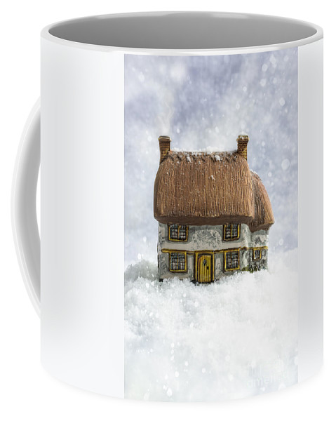 Cottage Coffee Mug featuring the photograph House In Snow by Amanda Elwell