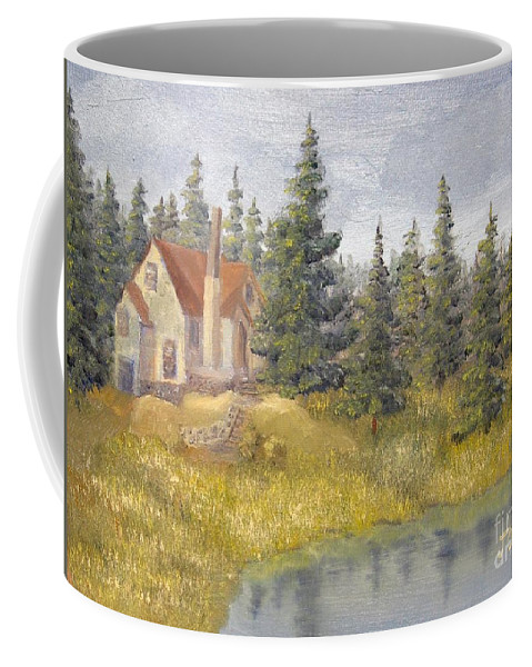 Landscape Coffee Mug featuring the painting House In The Woods 2 by J O Huppler