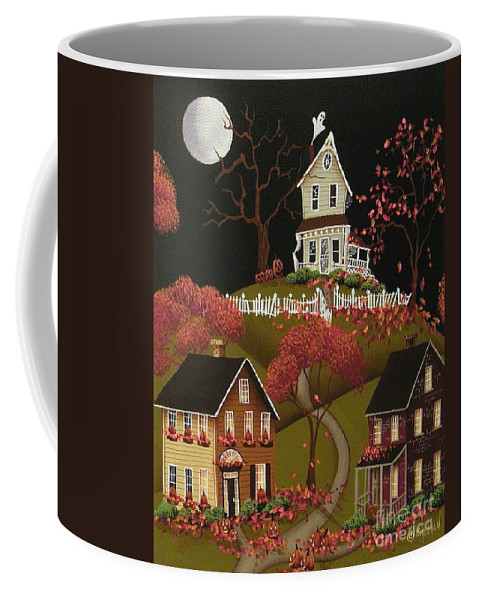 Art Coffee Mug featuring the painting House On Haunted Hill by Catherine Holman