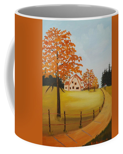 Original Oil Paintings Coffee Mug featuring the painting House On The Hill by Ruth Housley