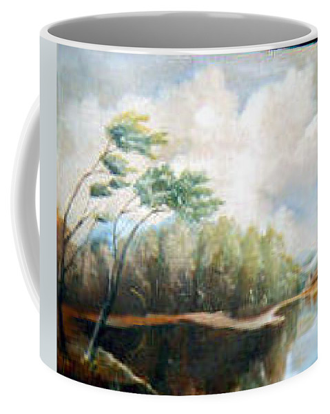 Landscape Coffee Mug featuring the painting House On The Lake by Sergey Bezhinets