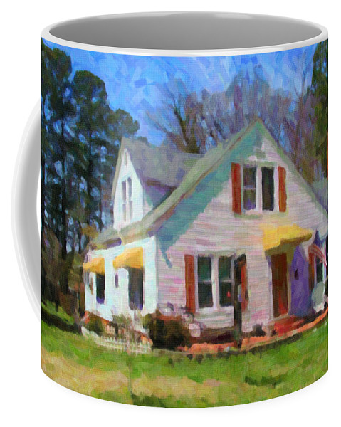 White House Coffee Mug featuring the painting House Proud In Cary by David Zimmerman