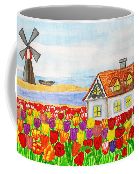 Visual Coffee Mug featuring the painting House With Tulips In Holland Painting by Irina Afonskaya