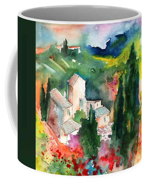Landscapes Coffee Mug featuring the painting Houses In Montepulciano In Tuscany 01 by Miki De Goodaboom