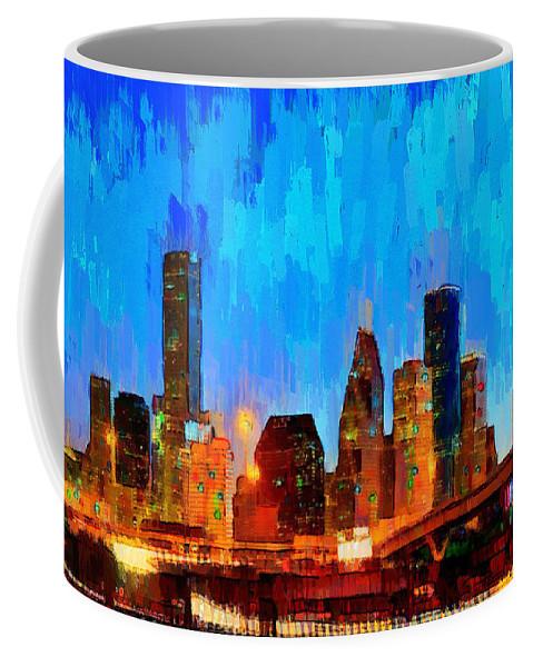 Houston Skyline Coffee Mug featuring the painting Houston Skyline 102 - Pa by Leonardo Digenio