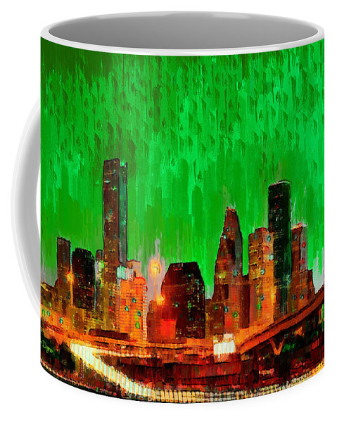 Houston Skyline Coffee Mug featuring the painting Houston Skyline 115 - Pa by Leonardo Digenio