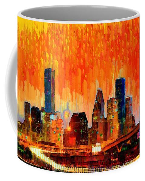 Houston Skyline Coffee Mug featuring the painting Houston Skyline 116 - Pa by Leonardo Digenio