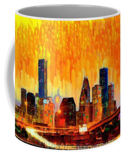 Houston Skyline Coffee Mug featuring the painting Houston Skyline 118 - Pa by Leonardo Digenio