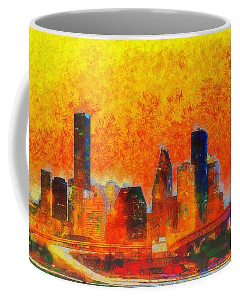 Houston Skyline Coffee Mug featuring the painting Houston Skyline 135 - Pa by Leonardo Digenio