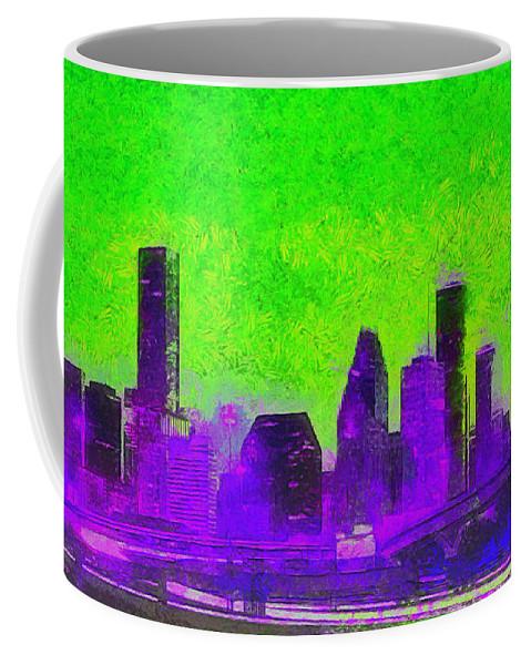 Houston Skyline Coffee Mug featuring the painting Houston Skyline 43 - Pa by Leonardo Digenio