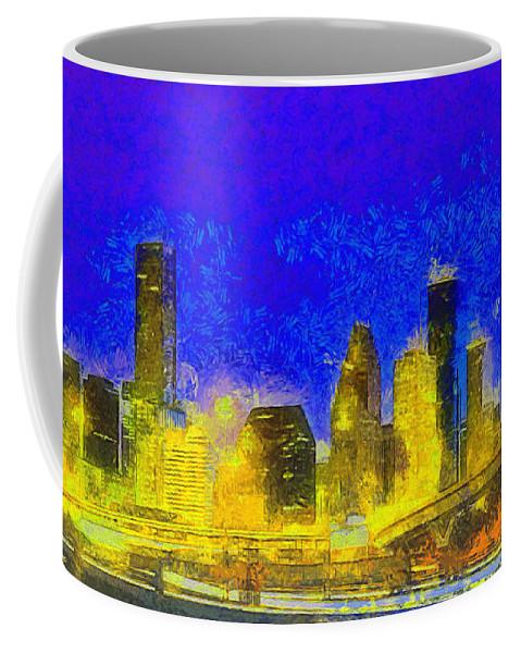 Houston Skyline Coffee Mug featuring the painting Houston Skyline 45 - Pa by Leonardo Digenio