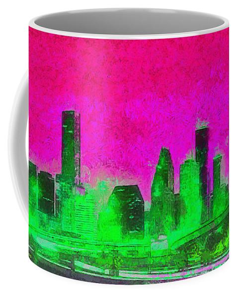 Houston Skyline Coffee Mug featuring the painting Houston Skyline 46 - Pa by Leonardo Digenio