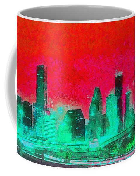Houston Skyline Coffee Mug featuring the painting Houston Skyline 47 - Pa by Leonardo Digenio