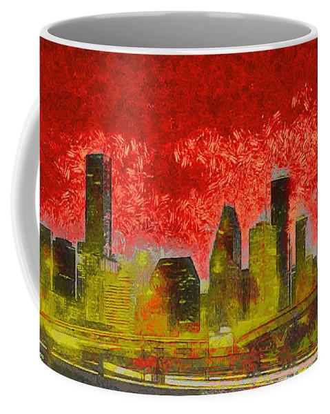 Houston Skyline Coffee Mug featuring the painting Houston Skyline 50 - Pa by Leonardo Digenio