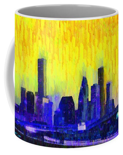 Houston Skyline Coffee Mug featuring the painting Houston Skyline 83 - Pa by Leonardo Digenio
