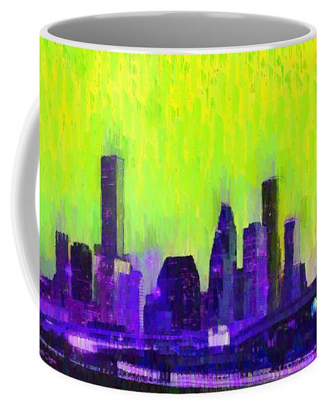 Houston Skyline Coffee Mug featuring the painting Houston Skyline 84 - Pa by Leonardo Digenio
