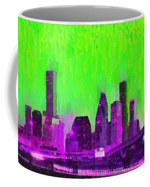 Houston Skyline Coffee Mug featuring the painting Houston Skyline 85 - Pa by Leonardo Digenio