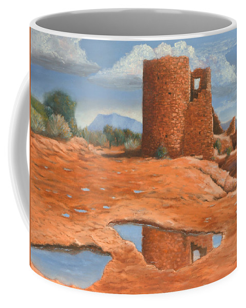 Anasazi Coffee Mug featuring the painting Hovenweep Reflection by Jerry McElroy