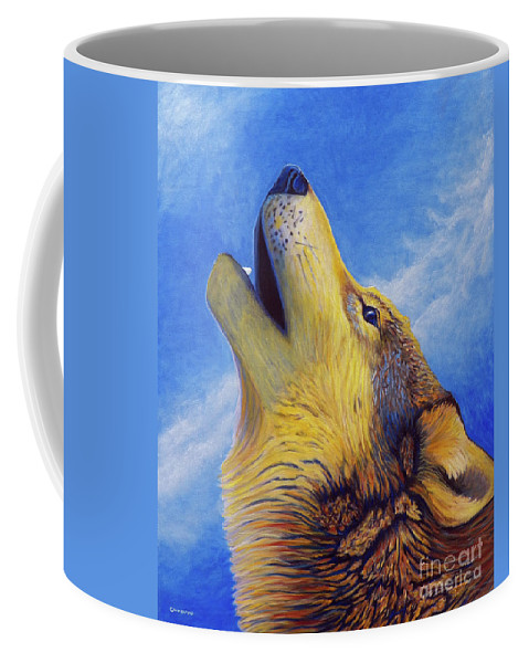 Wolf Coffee Mug featuring the painting Howl by Brian Commerford