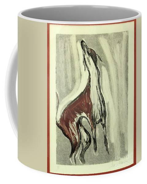 Monotype Coffee Mug featuring the mixed media Howling For Joy by Cori Solomon