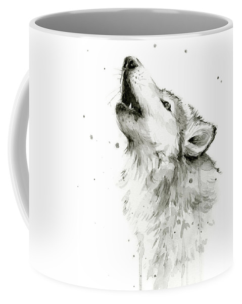 Watercolor Coffee Mug featuring the painting Howling Wolf Watercolor by Olga Shvartsur