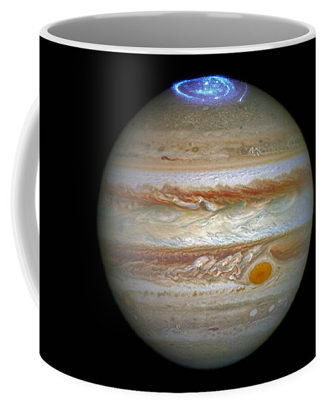 Jupiter Coffee Mug featuring the photograph Hubble Captures Vivid Auroras In Jupiter's Atmosphere by Nasa