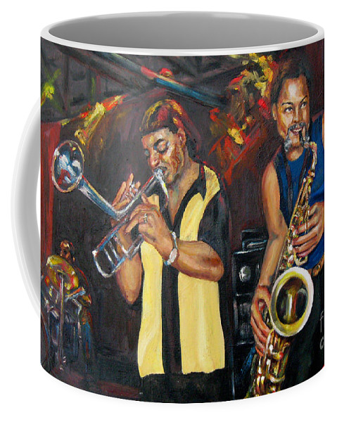 Musician Coffee Mug featuring the painting Hud N Lew/ The Daddyo Brothers by Beverly Boulet