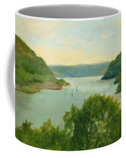 Hudson River Coffee Mug featuring the painting Hudson River From Bear Mt. by Phyllis Tarlow