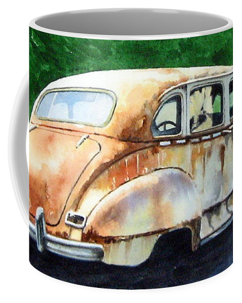 Hudson Car Rust Restore Coffee Mug featuring the painting Hudson Waiting For A New Start by Ron Morrison