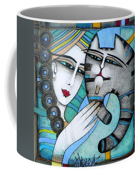 Girl Coffee Mug featuring the painting hug by Albena Vatcheva