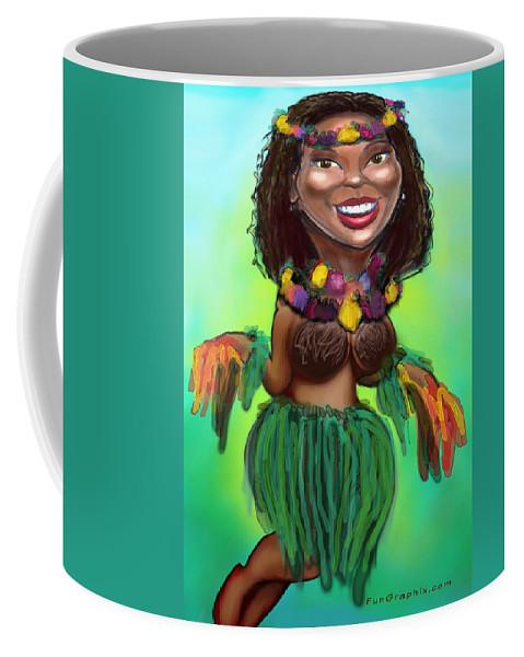 Luau Coffee Mug featuring the digital art Hula Dancer by Kevin Middleton