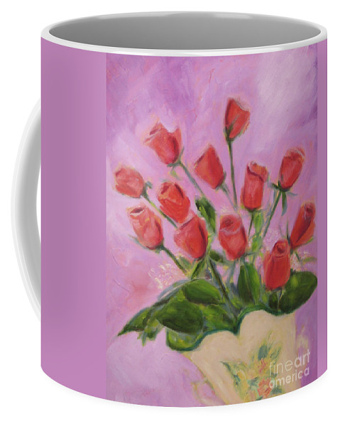 Art Coffee Mug featuring the painting Hull Roses by Karen Francis