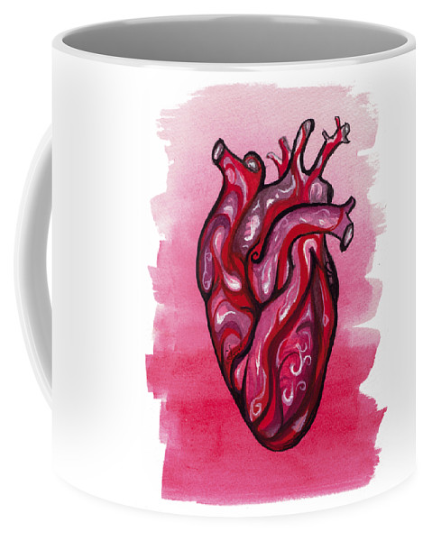 Spiritual Coffee Mug featuring the painting Human Heart by Gabriel Fernandes