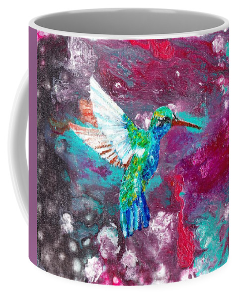 Acrylic Coffee Mug featuring the painting Humming Bird by Stormy Miller