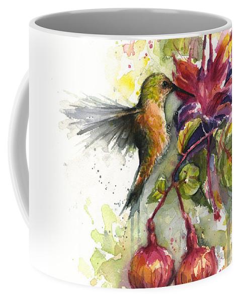 Hummingbird Coffee Mug featuring the painting Hummingbird and Fuchsia by Olga Shvartsur