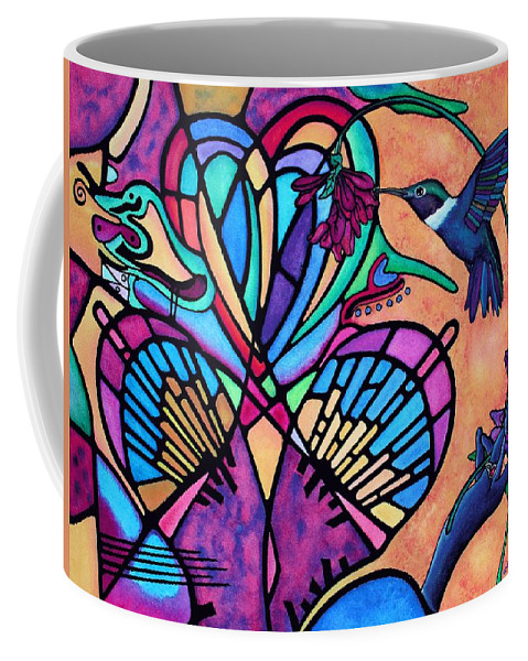 Greeting Cards Coffee Mug featuring the painting Hummingbird And Stained Glass Hearts by Lori Miller