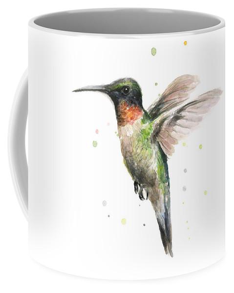 Animal Coffee Mug featuring the painting Hummingbird by Olga Shvartsur