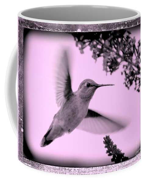 Hummingbird Coffee Mug featuring the photograph Hummingbird With Old-fashioned Frame 2 by Carol Groenen