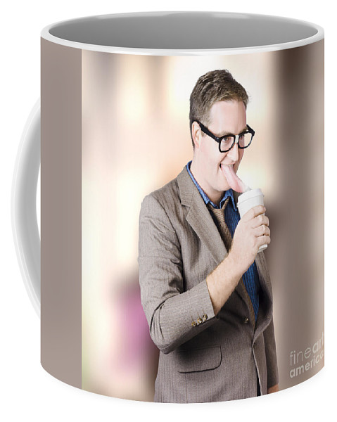 Coffee Coffee Mug featuring the photograph Humorous Businessman Licking Top Of Coffee Cup by Jorgo Photography - Wall Art Gallery
